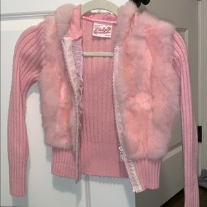 Girls fuzzy hooded sweater